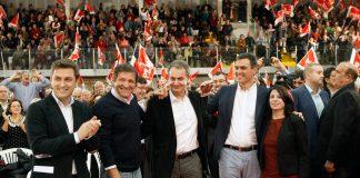 Pedro Sánchez y Zapatero en Gijón