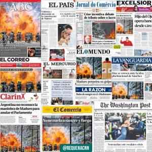 Portadas de medios nacionales e internacionales tras la constituyente.