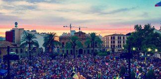 Vista del final de la manifestación del 14-S en Linares. Foto: Chavis Linares Arrayan (Todos a una por Linares)