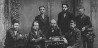Unión de Lucha por la Emancipación de la Clase Obrera, San Petersburgo, diciembre de 1895. De izquierda a derecha, de pie: A.L. Málchenko, P.K. Zaporozhets, A.A. Vanéiev; sentados: V. V. Starkov, G. M. Krzhizhanovski, V.I. Ulyánov (Lenin) y Yuli Mártov.