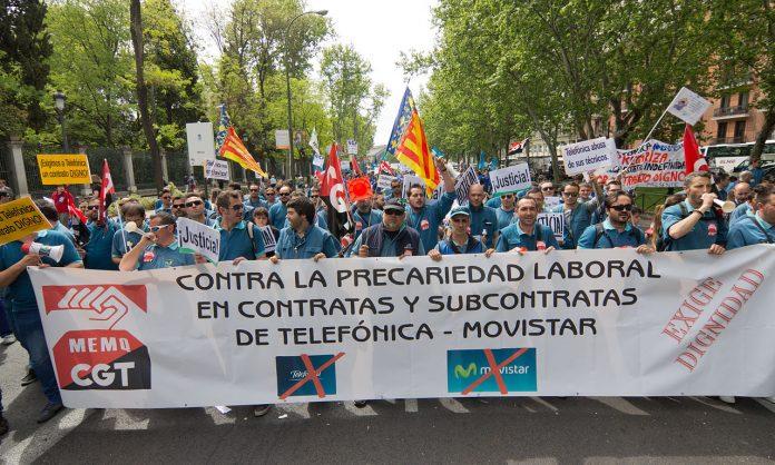 Huelga de técnicos de Telefónica Movistar en abril de 2015, en Madrid, España. Contra la precariedad en el sector. Foto: Carlos Delgado.
