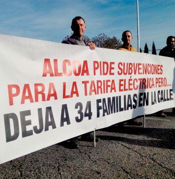 Pancarta en una concentración de los trabajadores de MONTRASA frente a Alcoa en Avilés en noviembre de 2017. Foto: Alisa Guerrero.