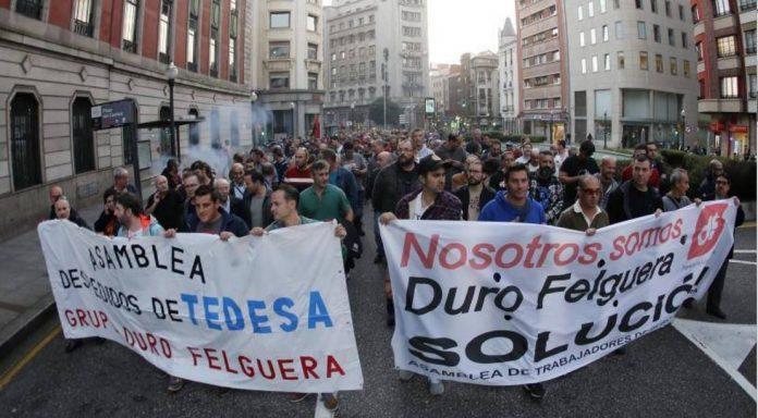 Manifestación de los trabajadores del grupo Duro Felguera en Gijón. 25 de octubre de 2017. Foto: Asamblea de Trabajadores de Duro Felguera.