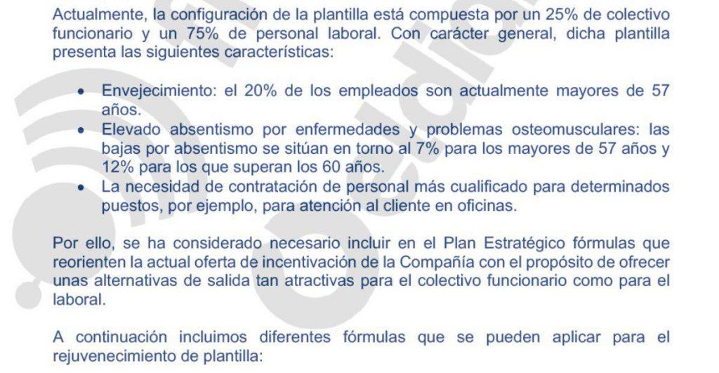 Fragmento de uno de los documentos aparecidos en Filtralia.org sobre el plan de salidas incentivadas que baraja RRHH de Correos