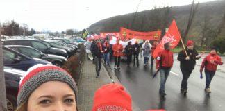 Movilización de trabajadores de la fábrica de robots KUKA en Trennfurt, Alemania. Durante las movilizaciones por la jornada de 28 horas. 16 de enero de 2018. Foto: IG Metall