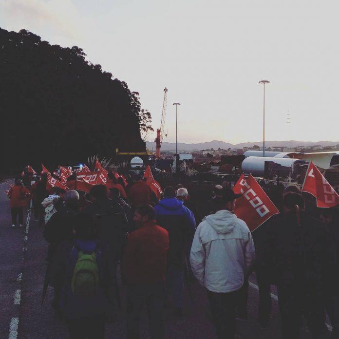 Marcha de apoyo a los 34 de Montrasa (Alcoa Avilés), el 1 de diciembre de 2017. Foto: LM