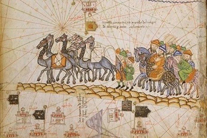 Caravana en la Ruta de la Seda (1380 dC).