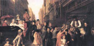 Pobreza y Riqueza, cuadro del pintor victoriano William Powell Frith (1888). Wikimedia.