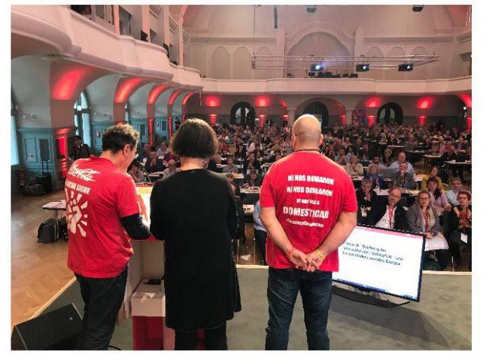Trabajadores de Coca Cola en Fuenlabrada en el Congreso de NGG en noviembre de 2018.