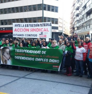 Concentración de los trabajadores y trabajadoras de Gemini. Foto: @GeminiEnLucha.