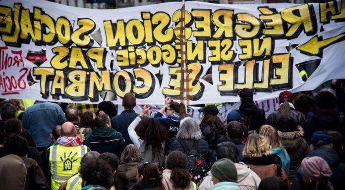 Movilización de los carteros y carteras del distrito 92 de París. Foto: @NnoMan