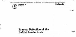 Portada del informe de la CIA Francia: Deserción de los intelectuales de izquierdas.