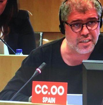 Unai Sordo en el Comité Ejecutivo de la CES. Foto: CCOO.